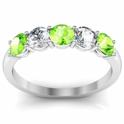 Peridot and Diamond Gem Stone Band