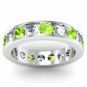 Peridot and Diamond Round Gemstone Eternity Band in Channel Setting