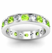 Peridot and Diamond Round Gemstone Eternity Ring in Channel Setting