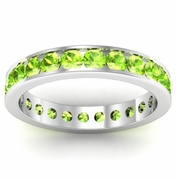 Peridot Eternity Band in Channel Setting