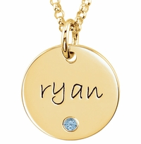 Personalized Name and Birthstone Pendant Necklace