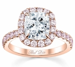 Pink Diamond Cushion Halo Engagement Ring
