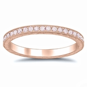 Pink Diamond Rose Gold Hand Engraved Eternity Band