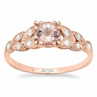 Pink Gold and Morganite Diamond Leaf Accented Engagement Ring