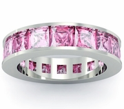 Pink Sapphire Birth Stone Eternity Band