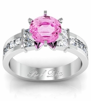 Pink Sapphire Channel Set Princess Engagement Setting