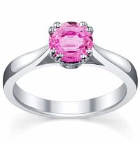 Pink Sapphire Double Prong Tapered Solitaire