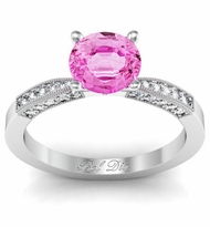 Pink Sapphire Engagement Ring with Tapered Milgrained Band