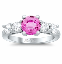 Pink Sapphire Five Stone Engagement Ring with Diamond Accents