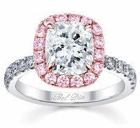 Pink Sapphire Halo Engagement Ring for Cushion Diamond