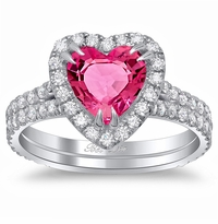 Pink Sapphire Heart Double Shank Engagement Ring