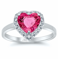Pink Sapphire Heart Halo Engagement Ring