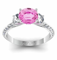 Pink Sapphire Knife Edge Three Stone Engagement Ring