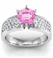 Pink Sapphire Pave Banded Engagement Ring