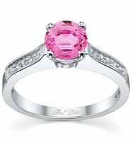 Pink Sapphire Pave Engagement Ring with Milgrain