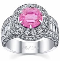 Pink Sapphire Round Halo Engagement Ring