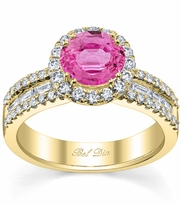 Pink Sapphire Round Halo Ring with Baguettes