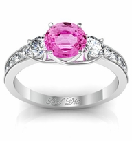 Pink Sapphire Three Stone Engagement Ring with Diamond Accents