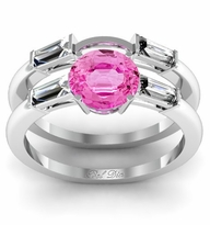 Pink Sapphire Three Stone Engagement Ring with Matching Band