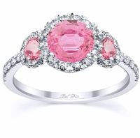 Pink Sapphire Three Stone Halo Engagement Ring