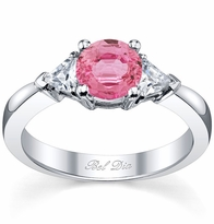 Pink Sapphire Three Stone Ring with Trillions