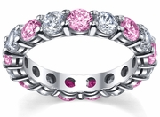 Pink Sapphires and Diamonds Eternity Band