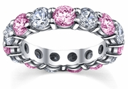 Pink Sapphires Diamonds Eternity Band 5.00cttw