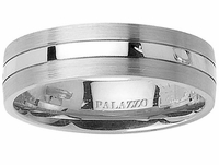 Pipe Cut Men's Palladium Ring with Grooves