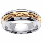 Platinum & 18kt Domed Mens Wedding Ring in 7 mm Handmade