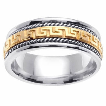 Platinum & 18kt Gold Two Tone Wedding Ring Greek Key Design - click to enlarge
