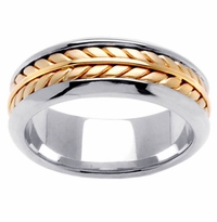 Platinum & 18kt Handmade Mens Wedding Band in 8 mm