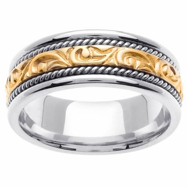 Platinum & 18kt Handmade Mens Wedding Ring in 7 mm - click to enlarge