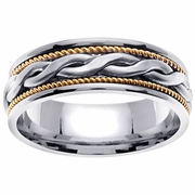 Platinum & 18kt Handmade Wedding Ring in 7 mm Comfort Fit