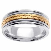 Platinum & 18kt Mens Wedding Ring in 8mm Comfort Fit