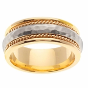 Platinum & 18kt Two Tone Hammered Wedding Ring in 8.5mm Comfort Fit