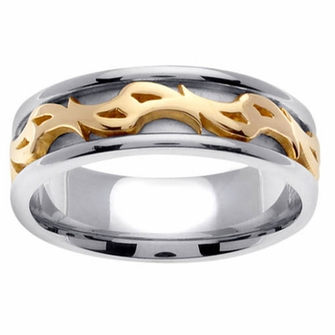 Platinum & 18kt Two Tone Wedding Ring in 7 mm Comfort Fit - click to enlarge