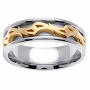 Platinum & 18kt Two Tone Wedding Ring in 7 mm Comfort Fit