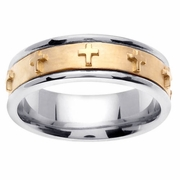 Platinum & 18kt Yellow Gold Cross Wedding Ring in 7 mm