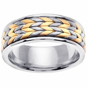 Platinum & 18kt Yellow Gold Wedding Ring in 8 mm Chevron Design