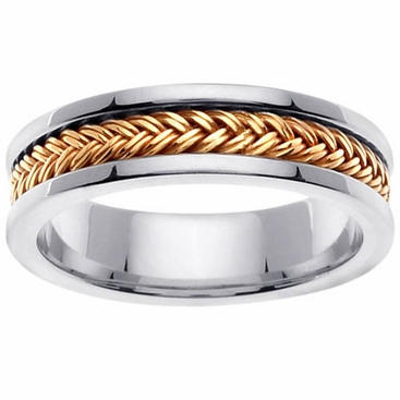Platinum and Gold Ring in 6 mm Comfort Fit - click to enlarge