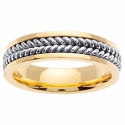 Platinum and Gold Wedding Ring in 6 mm Comfort Fit