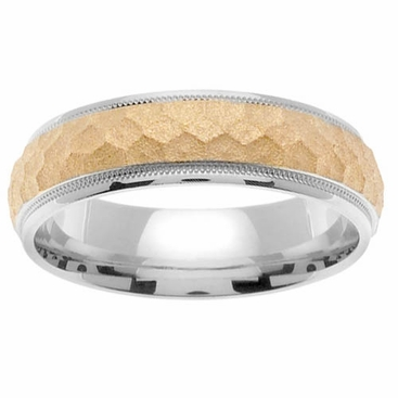 Platinum Mens Wedding Band with Hammered 18kt Center - click to enlarge
