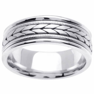 Platinum Ring 8mm Comfort Fit Handmade - click to enlarge