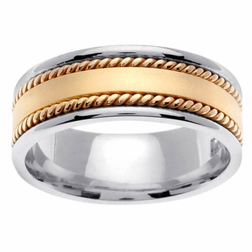 Platinum Ring with 18k Yellow Gold Handmade Design - click to enlarge