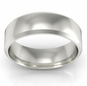Platinum Wedding Band Beveled 5mm