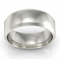 Platinum Wedding Band Beveled 7mm