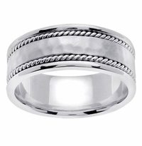 Platinum Wedding Band for Men 8mm Comfort Fit Handmade