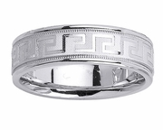 Platinum Wedding Band Greek Key Design