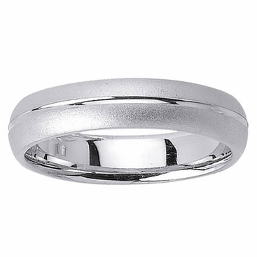 Platinum Wedding Band in 5mm Comfort Fit Mens or Ladies Fancy Wedding Ring - click to enlarge