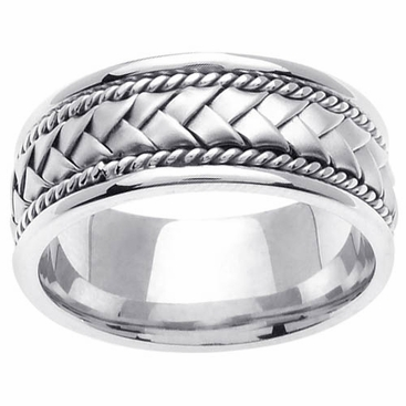 Platinum Wedding Band in 8.5mm Comfort Fit Mens or Ladies Handmade Wedding Ring - click to enlarge